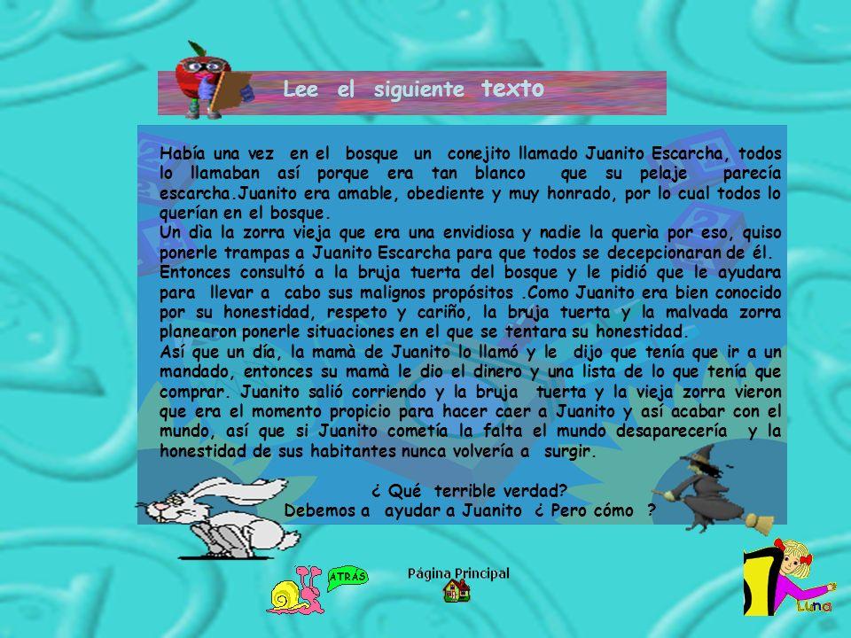 Lee el siguiente texto Había una vez en el bosque un conejito llamado Juanito Escarcha, todos lo llamaban así porque era tan blanco que su pelaje pare