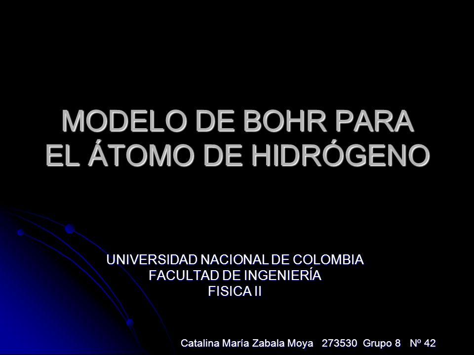 MODELO DE BOHR PARA EL ÁTOMO DE HIDRÓGENO UNIVERSIDAD NACIONAL DE COLOMBIA FACULTAD DE INGENIERÍA FISICA II Catalina María Zabala Moya 273530 Grupo 8 Nº 42