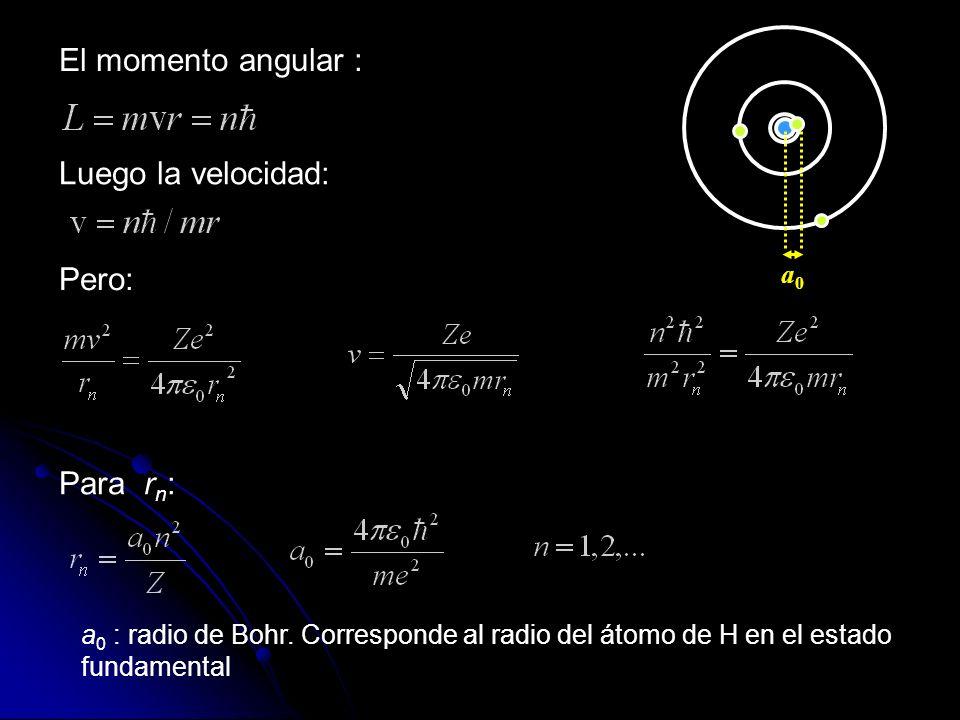El momento angular : Pero: Para r n : Luego la velocidad: a 0 : radio de Bohr.