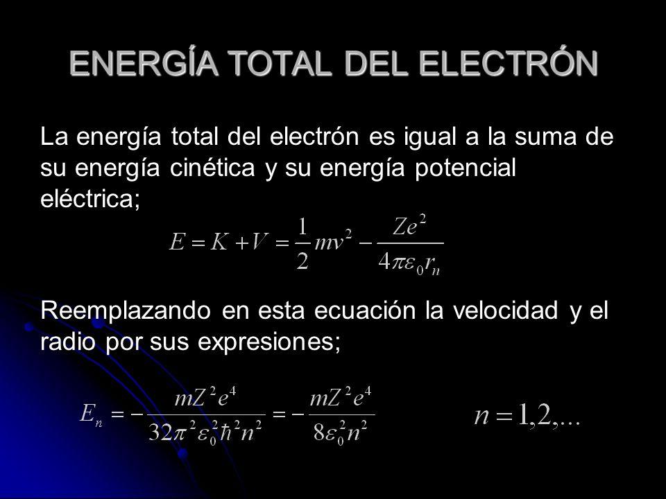 ENERGÍA TOTAL DEL ELECTRÓN La energía total del electrón es igual a la suma de su energía cinética y su energía potencial eléctrica; Reemplazando en esta ecuación la velocidad y el radio por sus expresiones;