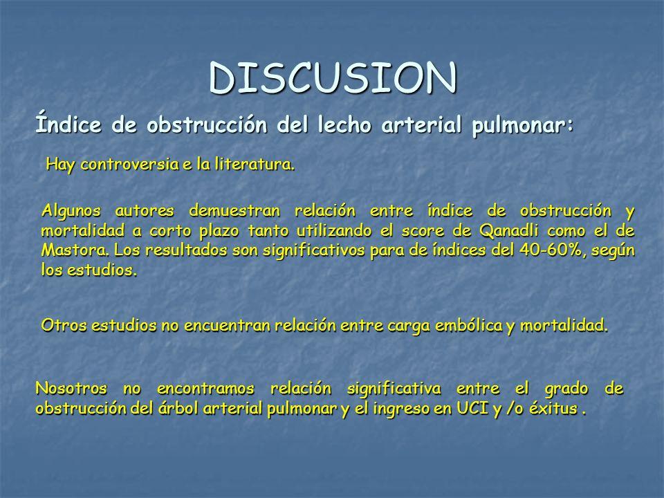 DISCUSION Índice de obstrucción del lecho arterial pulmonar: Nosotros no encontramos relación significativa entre el grado de obstrucción del árbol ar