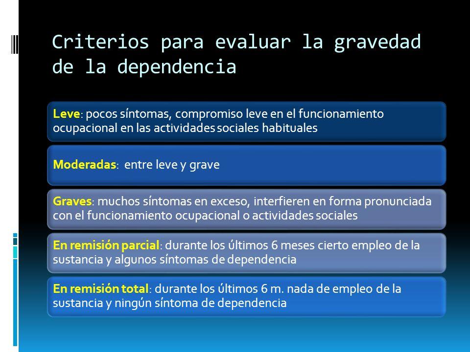 Criterios para evaluar la gravedad de la dependencia Leve: pocos síntomas, compromiso leve en el funcionamiento ocupacional en las actividades sociale