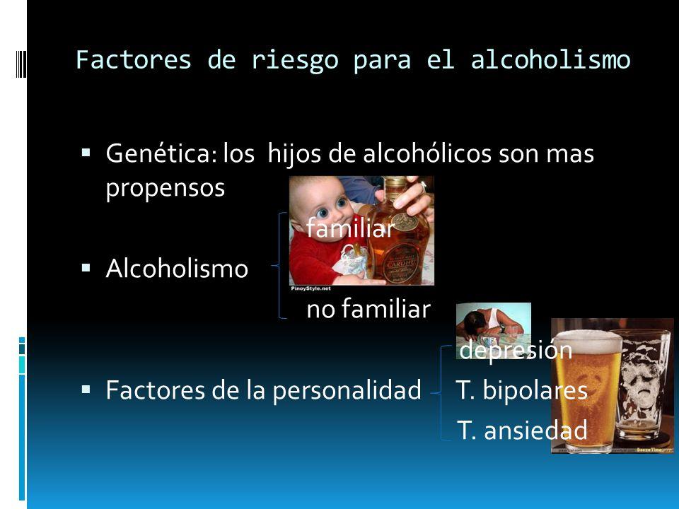 Factores de riesgo para el alcoholismo Genética: los hijos de alcohólicos son mas propensos familiar Alcoholismo no familiar depresión Factores de la