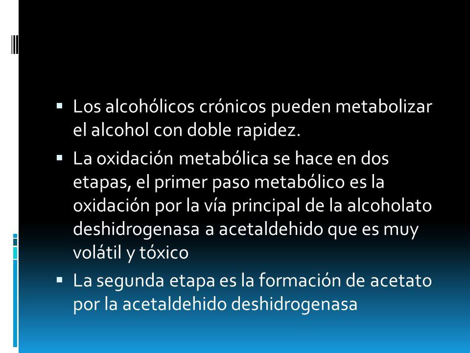 Los alcohólicos crónicos pueden metabolizar el alcohol con doble rapidez. La oxidación metabólica se hace en dos etapas, el primer paso metabólico es