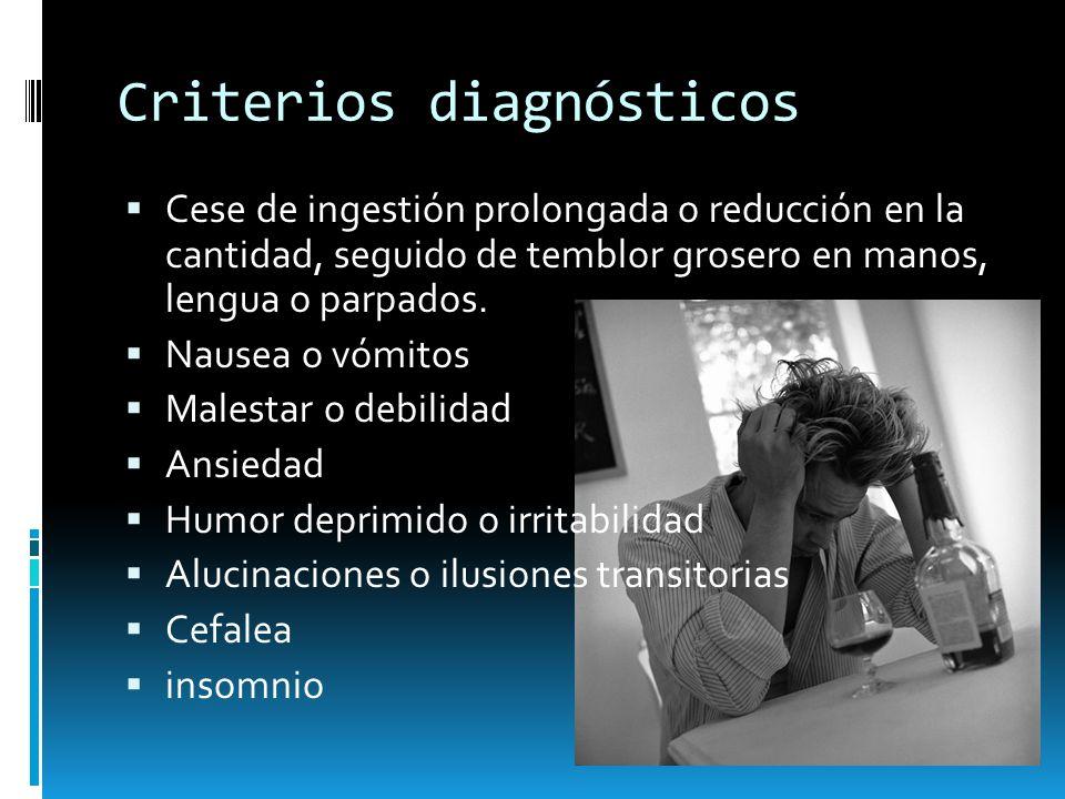 Criterios diagnósticos Cese de ingestión prolongada o reducción en la cantidad, seguido de temblor grosero en manos, lengua o parpados. Nausea o vómit