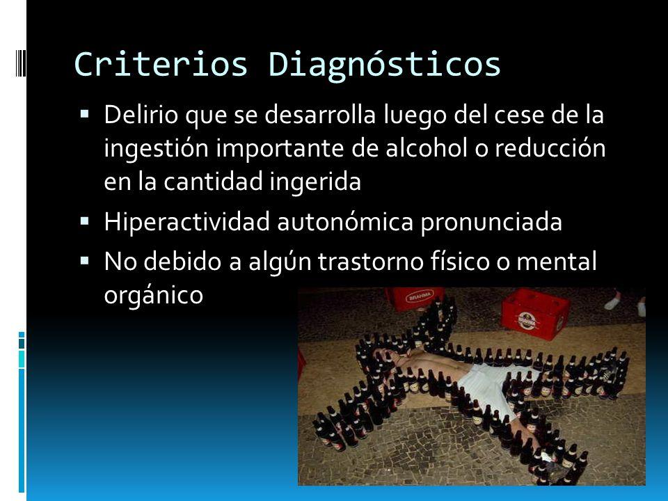 Criterios Diagnósticos Delirio que se desarrolla luego del cese de la ingestión importante de alcohol o reducción en la cantidad ingerida Hiperactivid