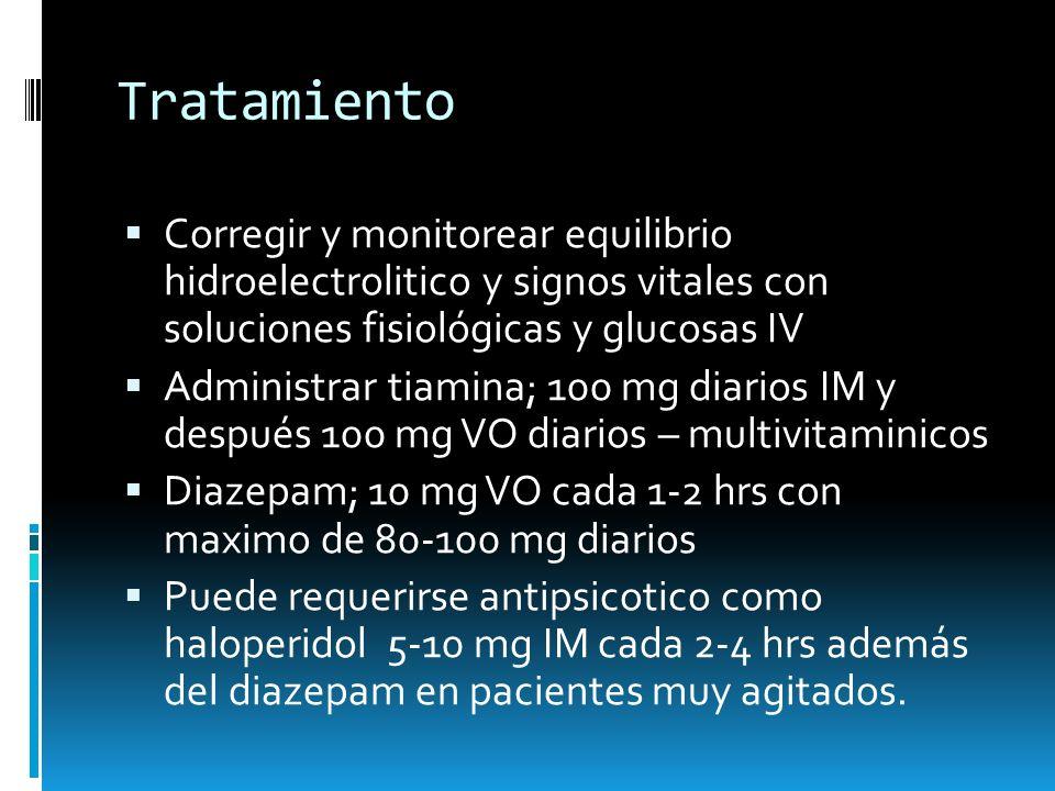 Tratamiento Corregir y monitorear equilibrio hidroelectrolitico y signos vitales con soluciones fisiológicas y glucosas IV Administrar tiamina; 100 mg