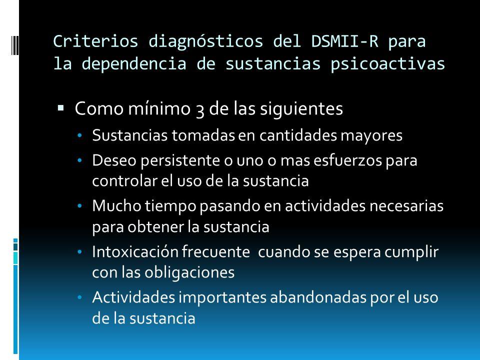 Criterios diagnósticos del DSMII-R para la dependencia de sustancias psicoactivas Como mínimo 3 de las siguientes Sustancias tomadas en cantidades may