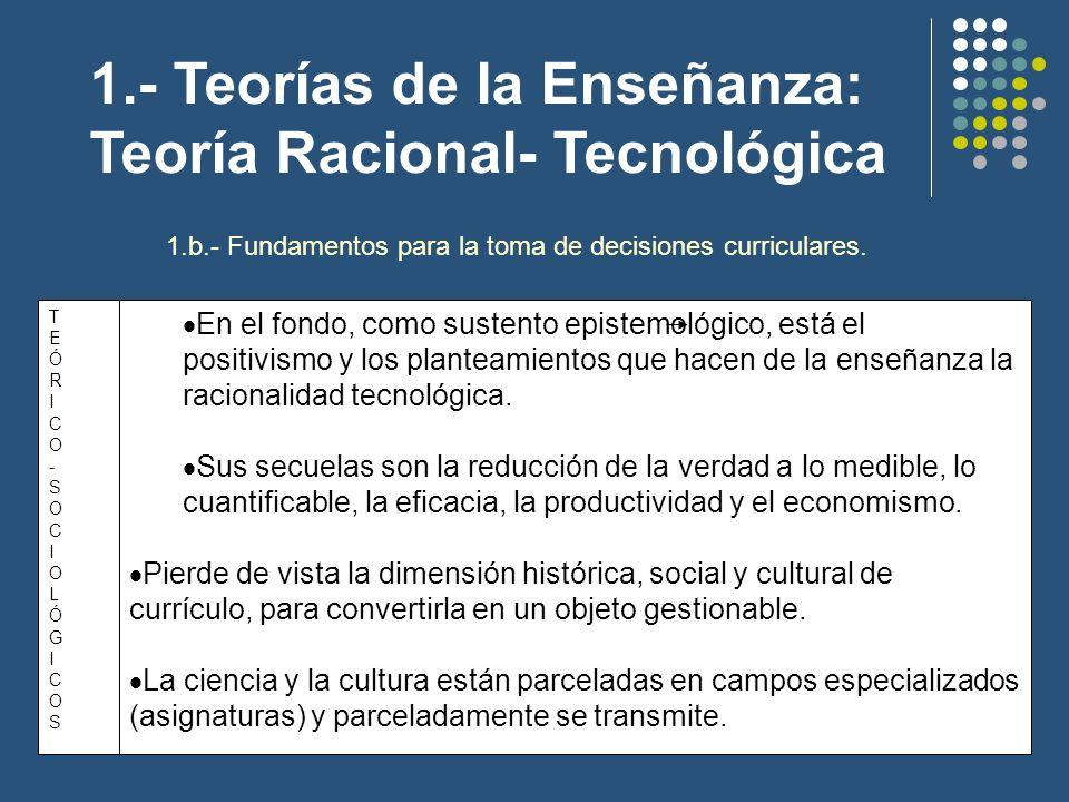 1.- Teorías de la Enseñanza: Teoría Racional- Tecnológica 1.b.- Fundamentos para la toma de decisiones curriculares. En el fondo, como sustento episte