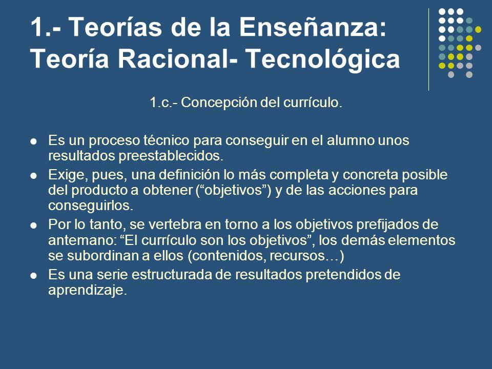 1.- Teorías de la Enseñanza: Teoría Racional- Tecnológica 1.c.- Concepción del currículo. Es un proceso técnico para conseguir en el alumno unos resul