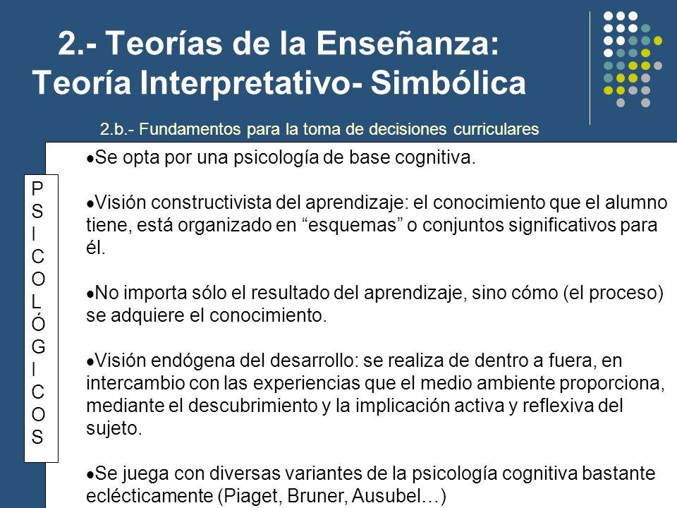 2.- Teorías de la Enseñanza: Teoría Interpretativo- Simbólica Se opta por una psicología de base cognitiva. Visión constructivista del aprendizaje: el