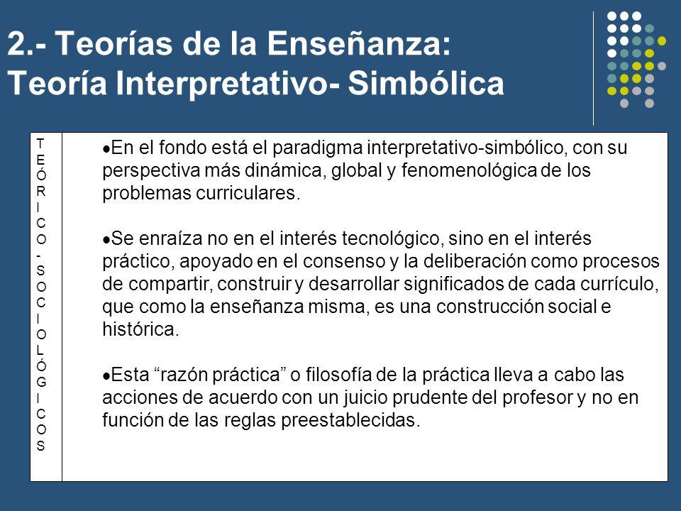 2.- Teorías de la Enseñanza: Teoría Interpretativo- Simbólica TEÓRICO-SOCIOLÓGICOSTEÓRICO-SOCIOLÓGICOS En el fondo está el paradigma interpretativo-si