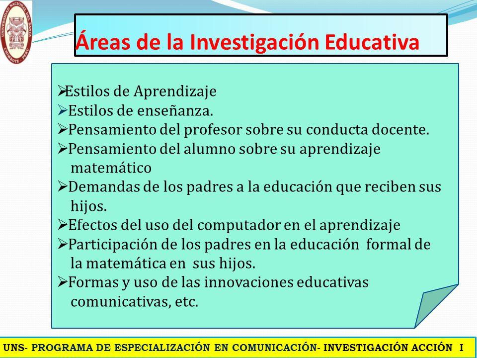 Áreas de la Investigación Educativa Calidad de la educación. Rendimiento escolar en el área de matemática etc. El proceso de enseñanza – aprendizaje e
