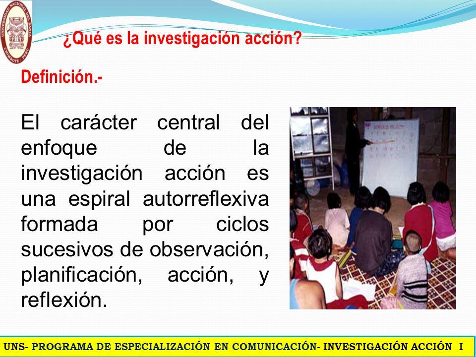 ¿Qué es la Investigación Acción? Para Bartolomé (1986) basado en Lewin, la investigación - acción «es un proceso reflexivo que vincula dinámicamente l