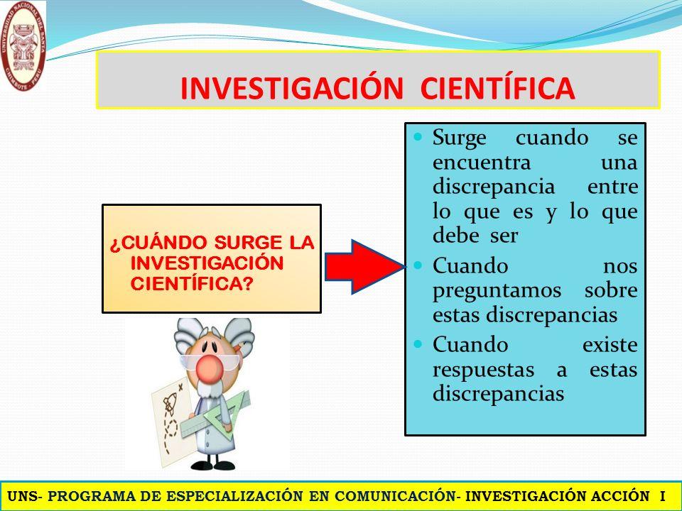 INVESTIGACIÓN CIENTÍFICA ¿CUÁNDO SURGE LA INVESTIGACIÓN CIENTÍFICA.