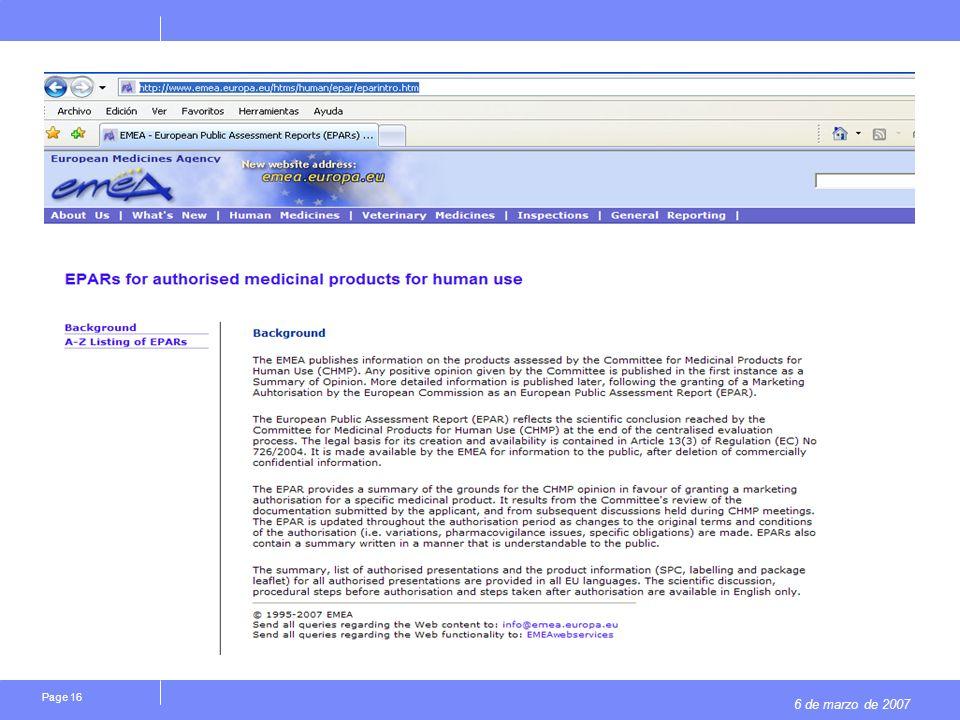 6 de marzo de 2007 Page 16