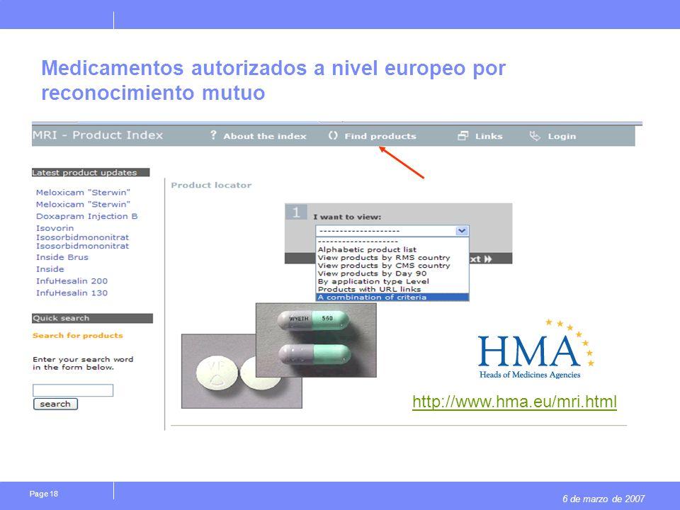 6 de marzo de 2007 Page 18 Medicamentos autorizados a nivel europeo por reconocimiento mutuo http://www.hma.eu/mri.html