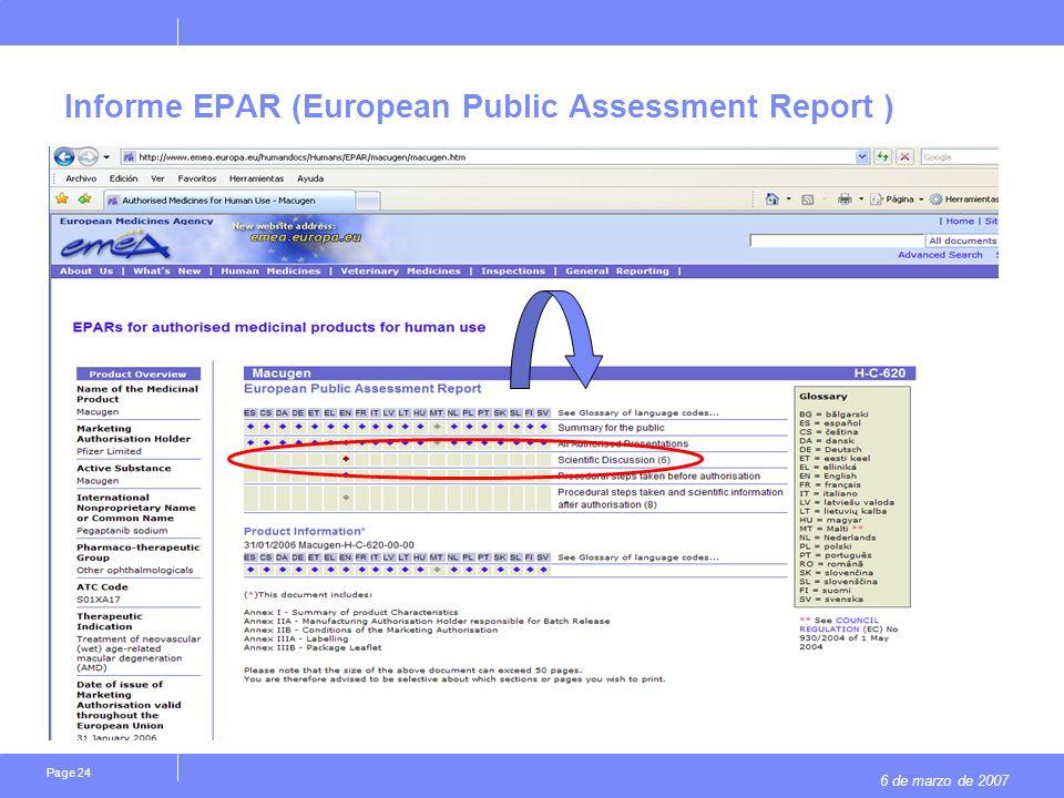 6 de marzo de 2007 Page 24 Informe EPAR (European Public Assessment Report )