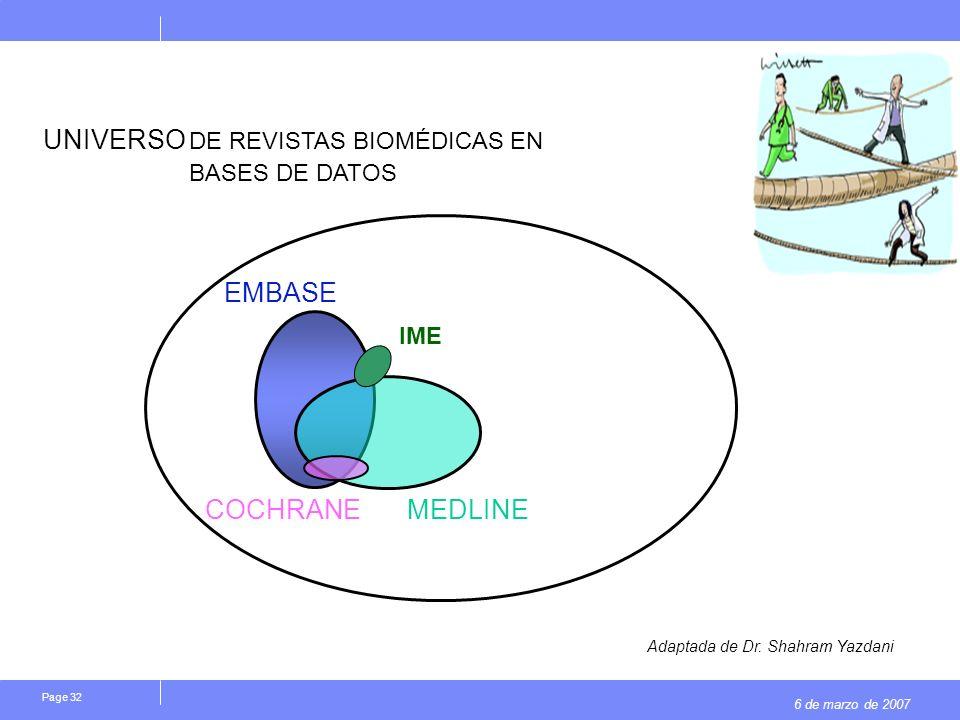 6 de marzo de 2007 Page 32 EMBASE MEDLINE COCHRANE UNIVERSO DE REVISTAS BIOMÉDICAS EN BASES DE DATOS IME Adaptada de Dr.