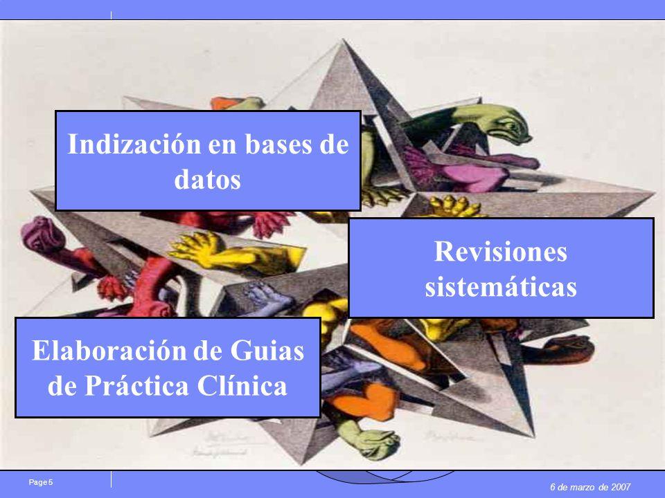 6 de marzo de 2007 Page 5 La investigación FASE I: 70% FASE II: 33% FASE III: 20% FASE IV AGENCIAS EVALUADORAS: FICHAS TÉCNICAS, INFORMES PUBLICACIONES Elaboración de Guias de Práctica Clínica Indización en bases de datos Revisiones sistemáticas