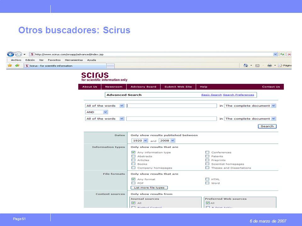 6 de marzo de 2007 Page 51 Otros buscadores: Scirus