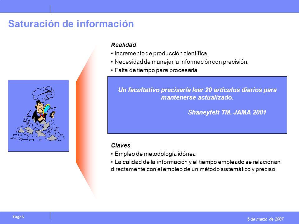 6 de marzo de 2007 Page 6 Saturación de información Realidad Incremento de producción científica.
