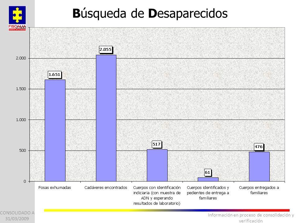Información en proceso de consolidación y verificación CONSOLIDADO A 31/03/2009 Búsqueda de Desaparecidos