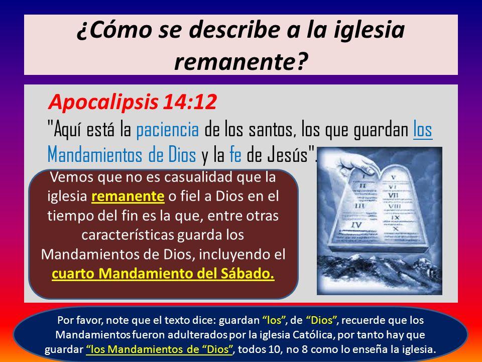 ¿Cómo se describe a la iglesia remanente? Apocalipsis 14:12
