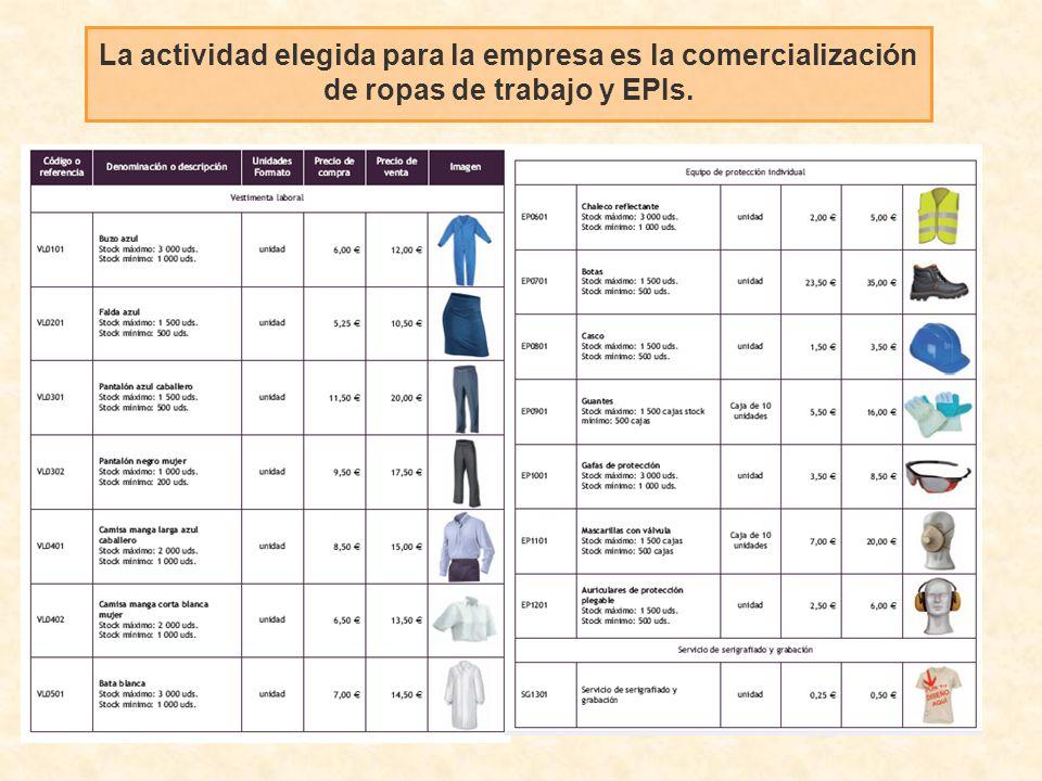La actividad elegida para la empresa es la comercialización de ropas de trabajo y EPIs.