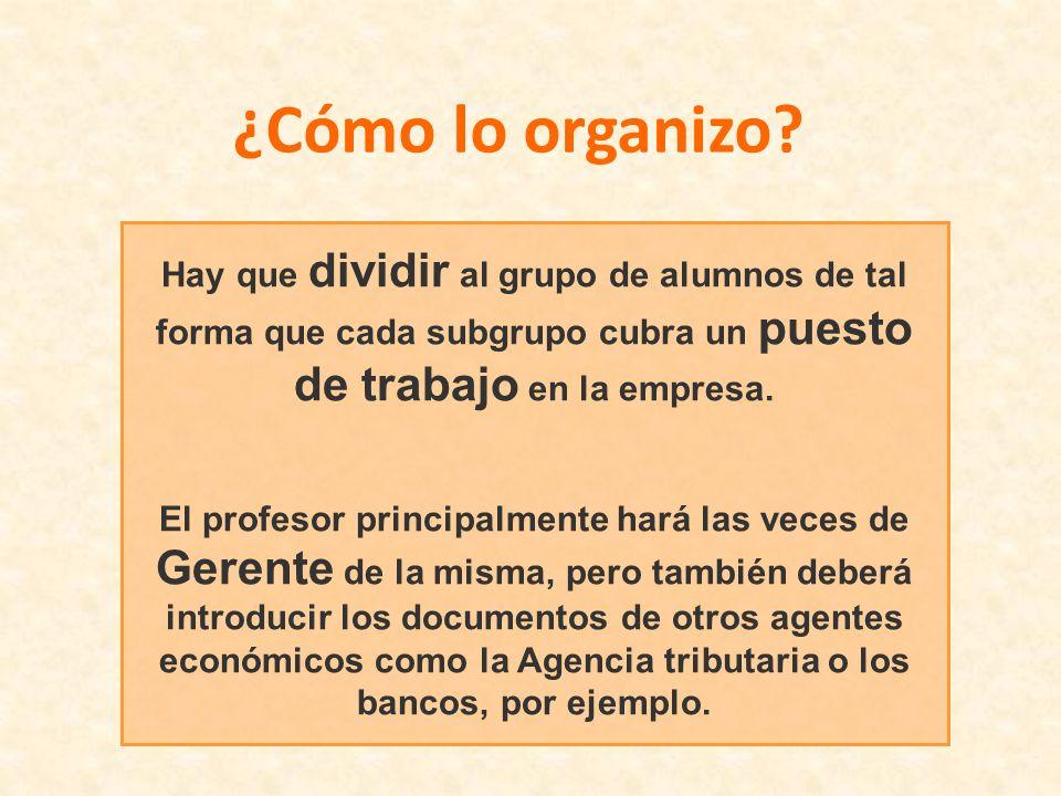 ¿Cómo lo organizo? Hay que dividir al grupo de alumnos de tal forma que cada subgrupo cubra un puesto de trabajo en la empresa. El profesor principalm