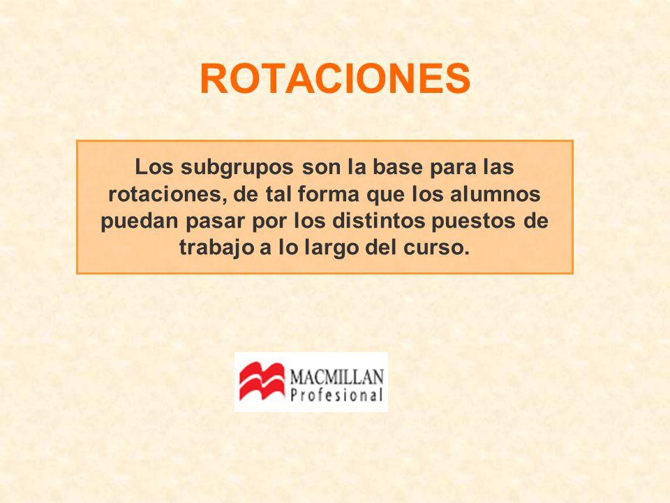 Los subgrupos son la base para las rotaciones, de tal forma que los alumnos puedan pasar por los distintos puestos de trabajo a lo largo del curso. RO