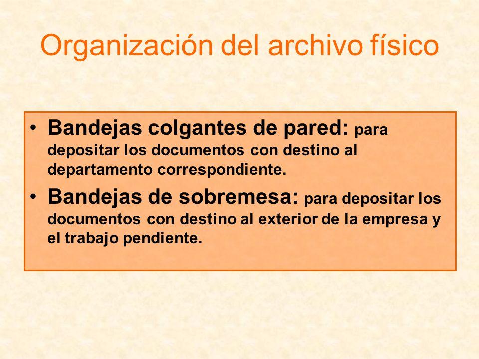 Organización del archivo físico Bandejas colgantes de pared: para depositar los documentos con destino al departamento correspondiente. Bandejas de so