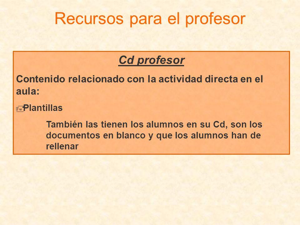 Cd profesor Contenido relacionado con la actividad directa en el aula: Plantillas También las tienen los alumnos en su Cd, son los documentos en blanc
