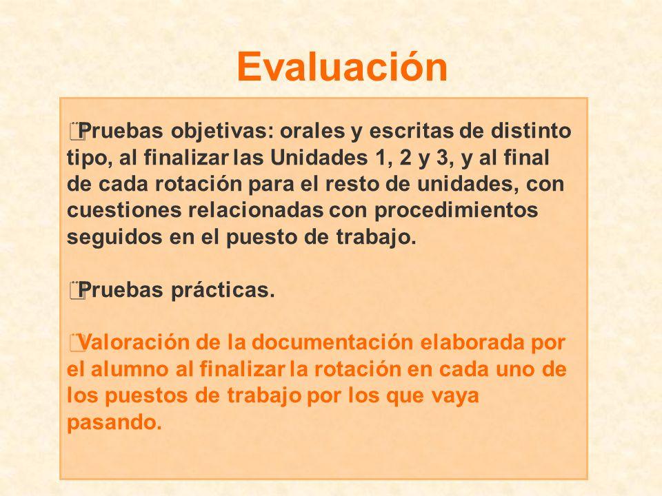 Pruebas objetivas: orales y escritas de distinto tipo, al finalizar las Unidades 1, 2 y 3, y al final de cada rotación para el resto de unidades, con