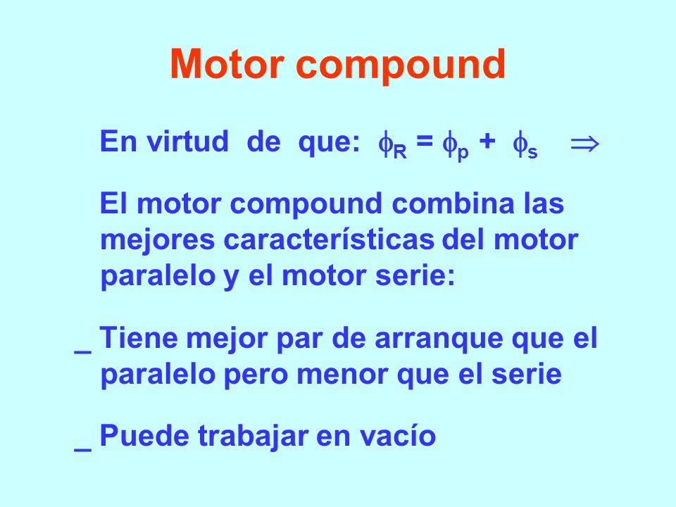 Motor serie I a = I L = (V - Ea) / r Como α I a : Td = C (I a ) 2 n = (V – r a I a )/K