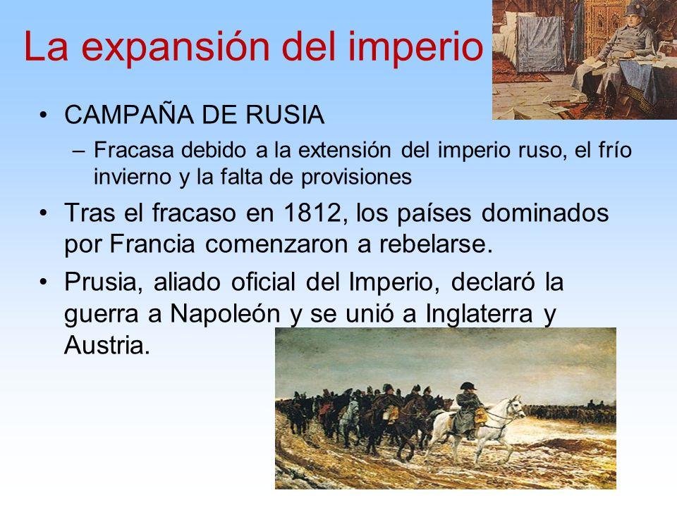 CAMPAÑA DE RUSIA –Fracasa debido a la extensión del imperio ruso, el frío invierno y la falta de provisiones Tras el fracaso en 1812, los países domin