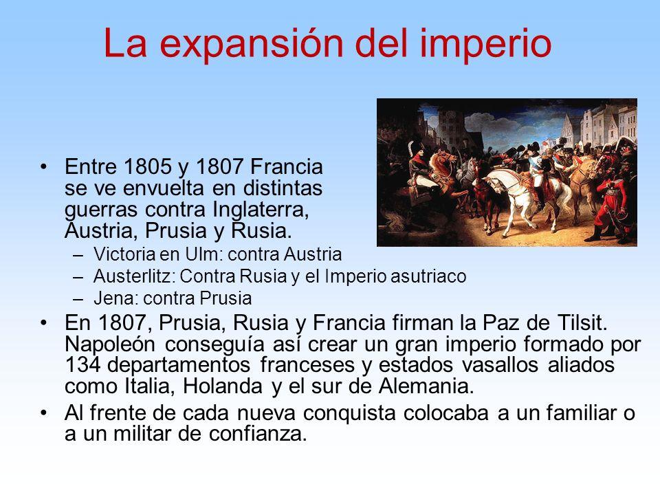 Entre 1805 y 1807 Francia se ve envuelta en distintas guerras contra Inglaterra, Austria, Prusia y Rusia. –Victoria en Ulm: contra Austria –Austerlitz