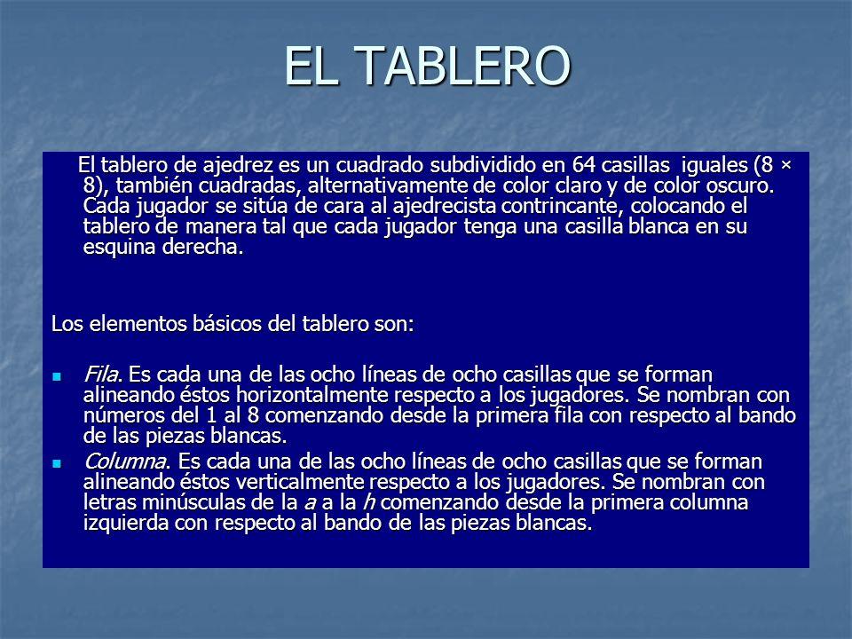EL TABLERO El tablero de ajedrez es un cuadrado subdividido en 64 casillas iguales (8 × 8), también cuadradas, alternativamente de color claro y de co