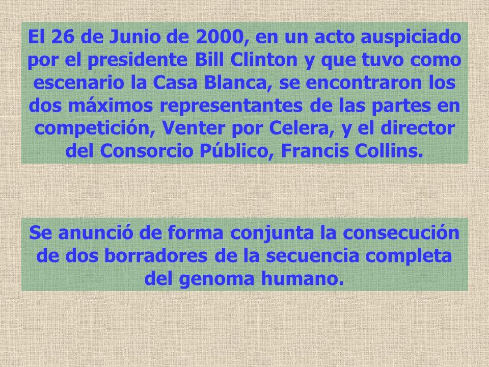 El 26 de Junio de 2000, en un acto auspiciado por el presidente Bill Clinton y que tuvo como escenario la Casa Blanca, se encontraron los dos máximos