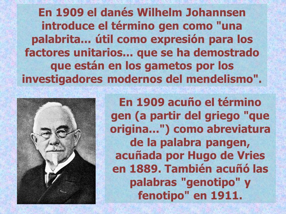 En 1909 el danés Wilhelm Johannsen introduce el término gen como