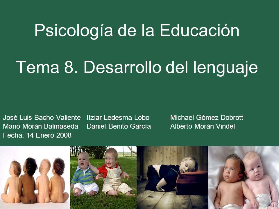 Psicología de la Educación Tema 8. Desarrollo del lenguaje José Luis Bacho Valiente Itziar Ledesma LoboMichael Gómez Dobrott Mario Morán Balmaseda Dan