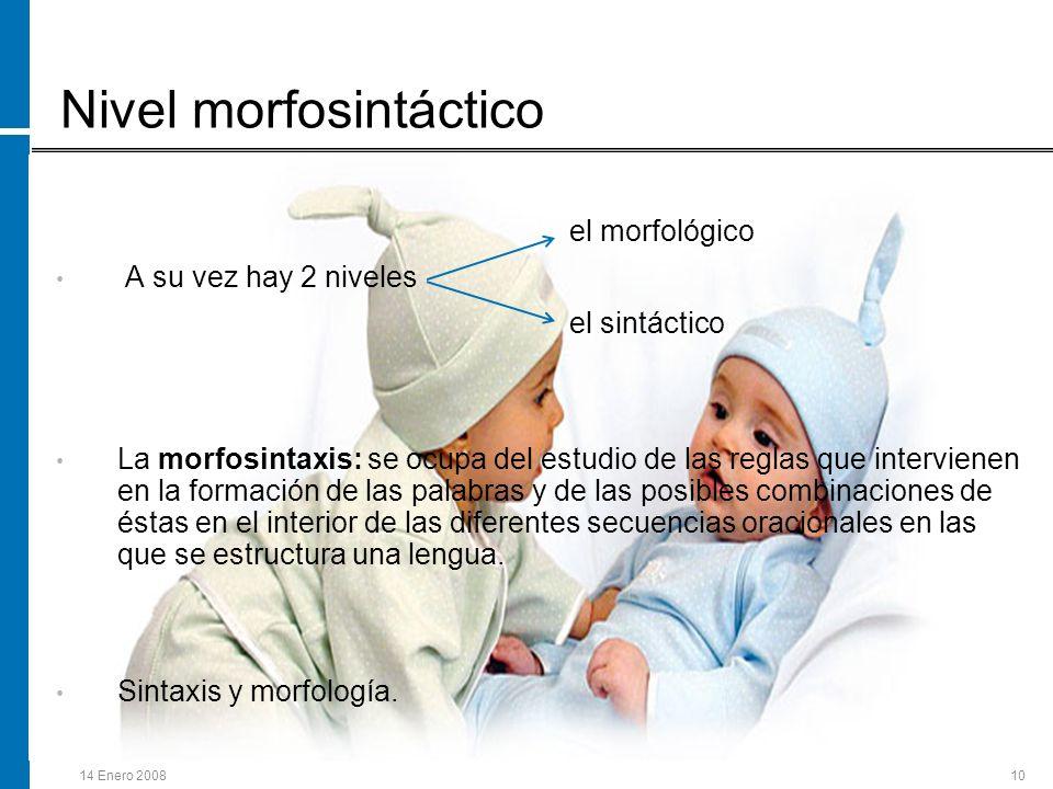 14 Enero 200810 Nivel morfosintáctico el morfológico A su vez hay 2 niveles el sintáctico La morfosintaxis: se ocupa del estudio de las reglas que int