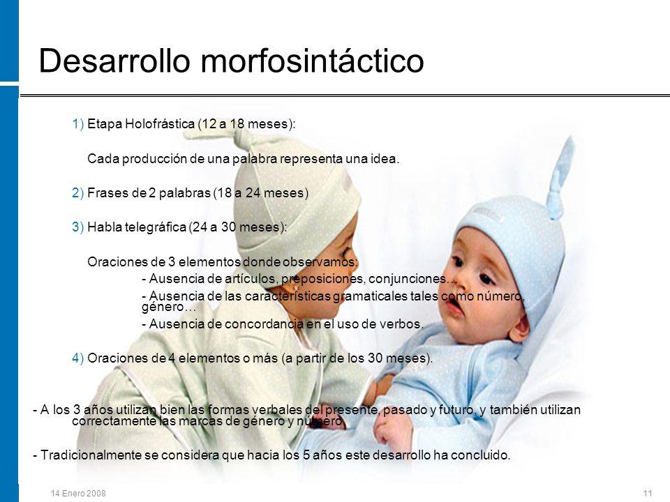 14 Enero 200811 1) Etapa Holofrástica (12 a 18 meses): Cada producción de una palabra representa una idea. 2) Frases de 2 palabras (18 a 24 meses) 3)