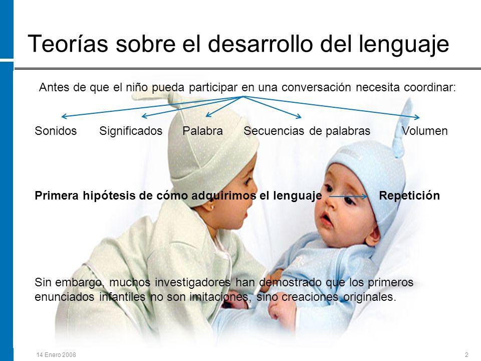 14 Enero 20082 Teorías sobre el desarrollo del lenguaje Antes de que el niño pueda participar en una conversación necesita coordinar: Sonidos Signific