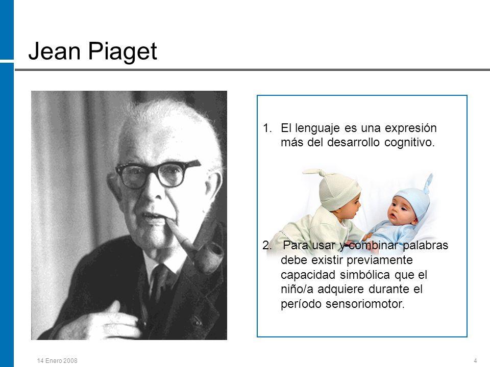 14 Enero 20084 Jean Piaget 1.El lenguaje es una expresión más del desarrollo cognitivo. 2. Para usar y combinar palabras debe existir previamente capa
