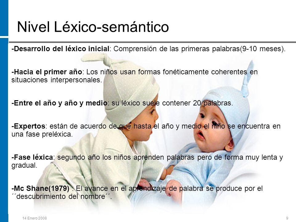 14 Enero 20089 Nivel Léxico-semántico -Desarrollo del léxico inicial: Comprensión de las primeras palabras(9-10 meses). -Hacia el primer año: Los niño