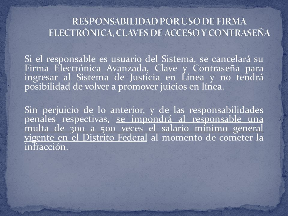 Si el responsable es usuario del Sistema, se cancelará su Firma Electrónica Avanzada, Clave y Contraseña para ingresar al Sistema de Justicia en Línea