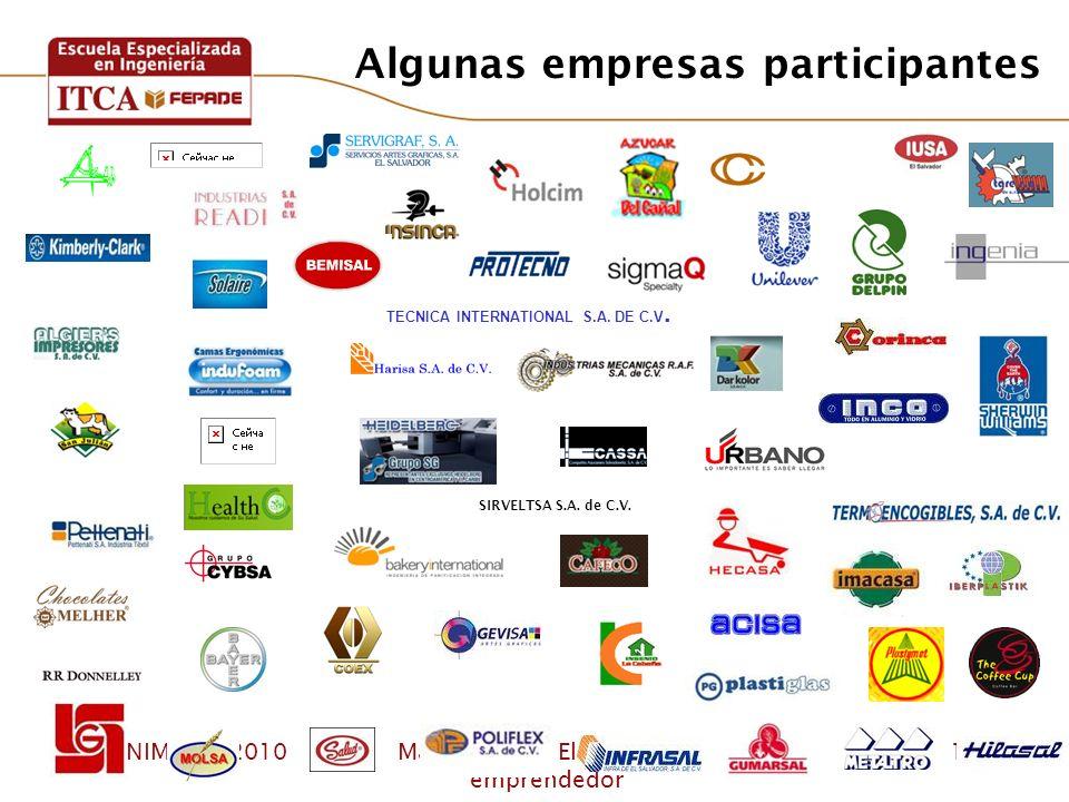 CONIMEIRA 2010Marco Lietz – El empleado emprendedor 13 TECNICA INTERNATIONAL S.A. DE C.V. SIRVELTSA S.A. de C.V. Algunas empresas participantes