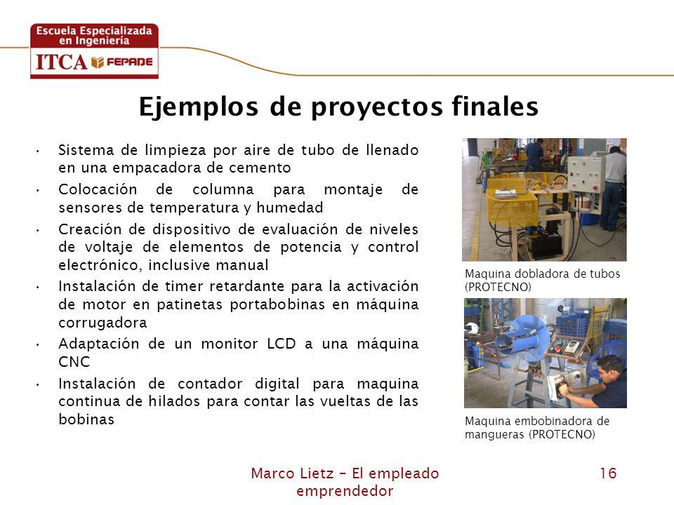 Marco Lietz – El empleado emprendedor 16 Ejemplos de proyectos finales Sistema de limpieza por aire de tubo de llenado en una empacadora de cemento Co