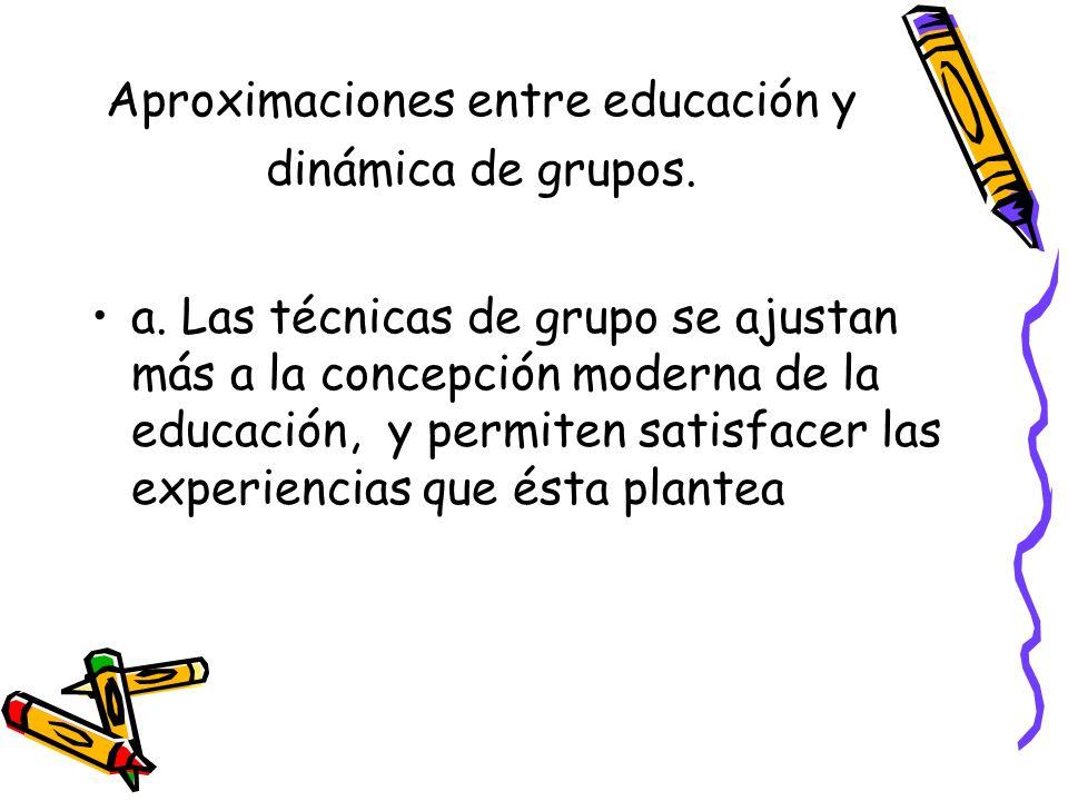 Aproximaciones entre educación y dinámica de grupos. a. Las técnicas de grupo se ajustan más a la concepción moderna de la educación, y permiten satis